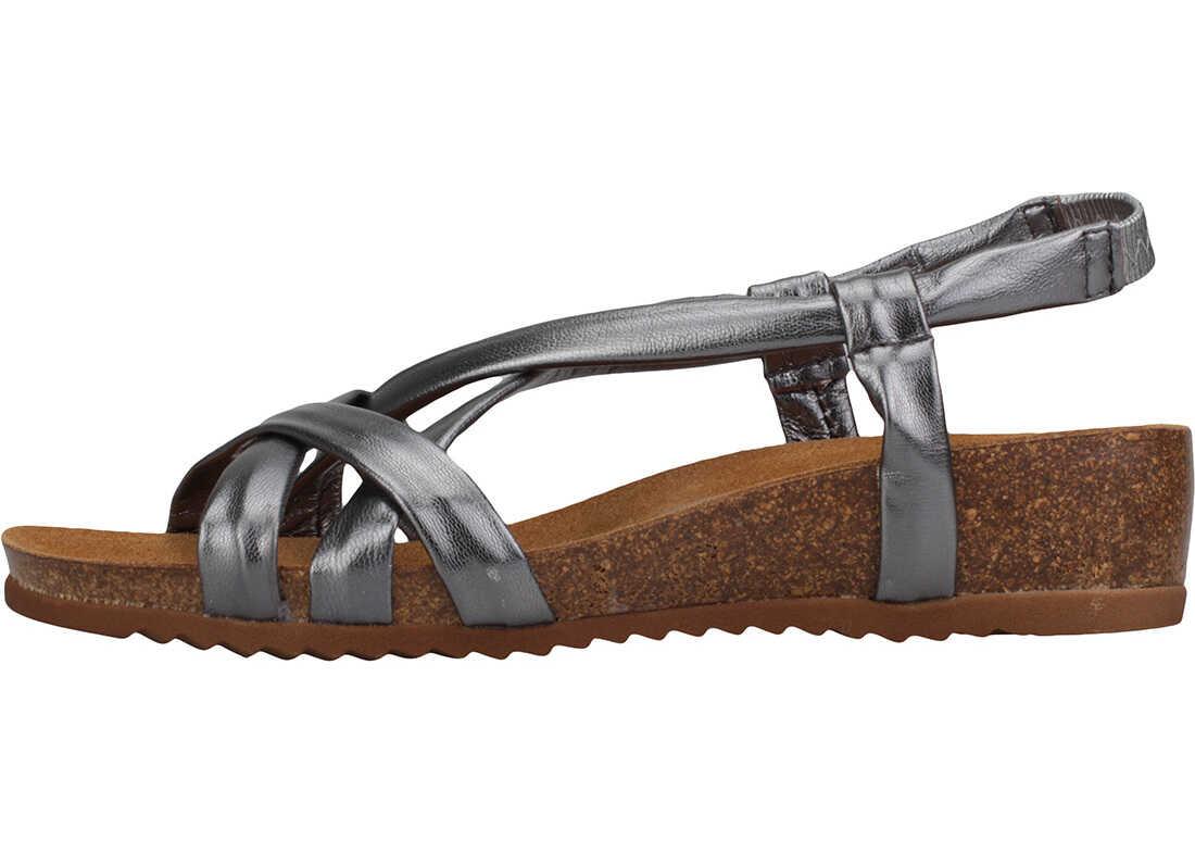 Mustang Metallic Cross Strap Wedge Sandals In Dark Grey Grey