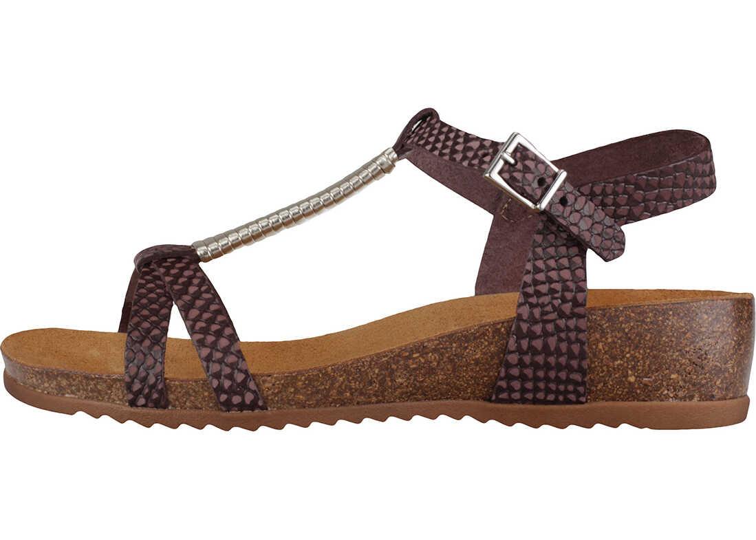 Mustang Strappy Wedge Sandals In Dark Brown Brown
