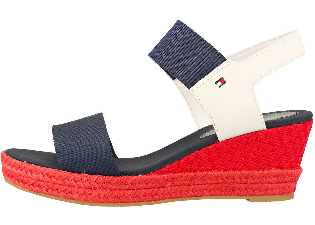 Tommy Hilfiger Iconic Elba Sandal Pop Color Wedges In Navy Red Blue Blue