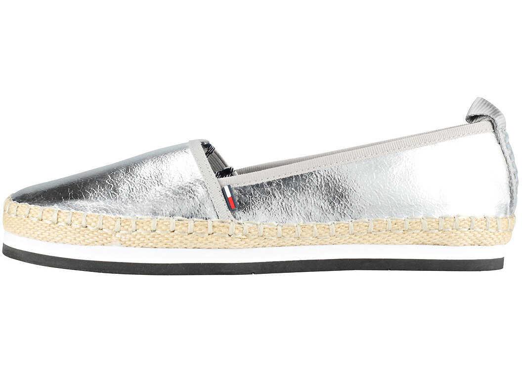 Tommy Hilfiger Sporty Metallic Slip On Espadrilles In Silver Silver