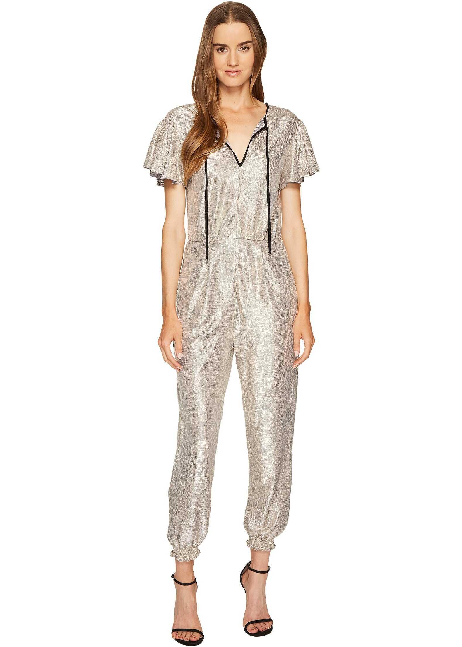 Just Cavalli Flutter Short Sleeve Metallic Jumpsuit Gold