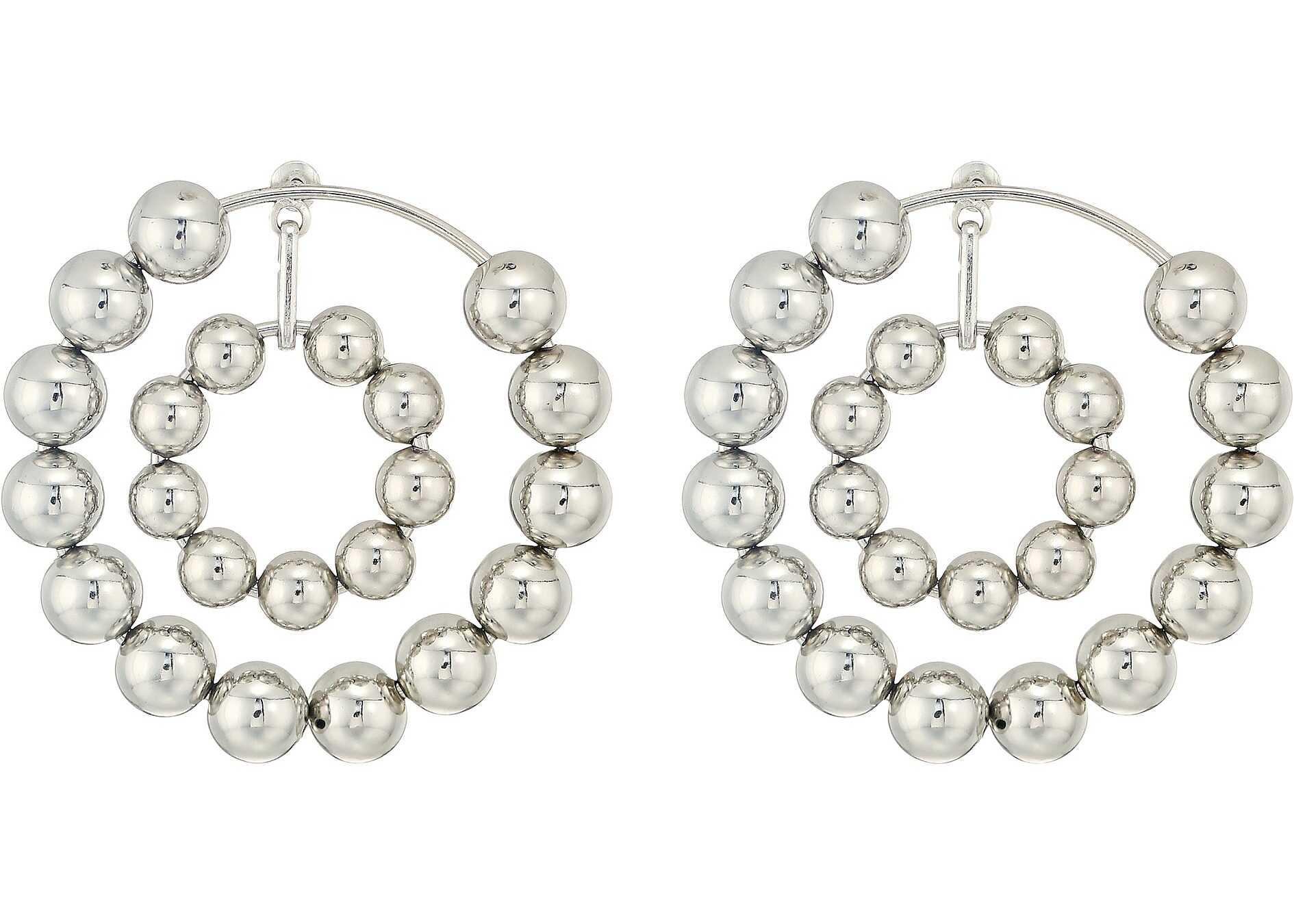 Steve Madden Multi Beaded Double Hoop Post Earrings Silver