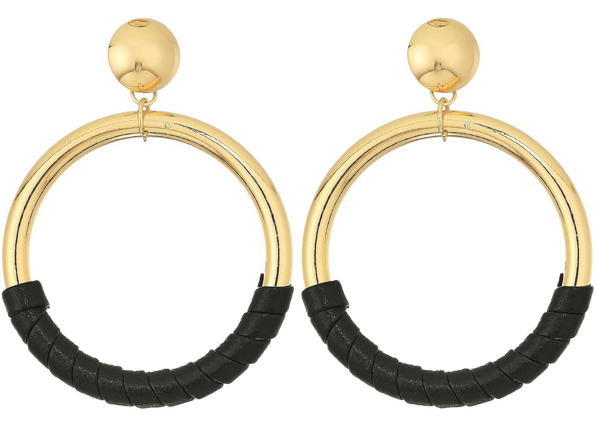 Steve Madden Hoop Stud Leather Post Earrings Gold