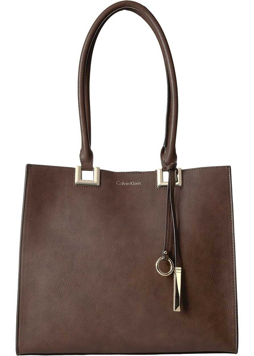 Calvin Klein North/South Novelty Smooth Boxed Tote Oak