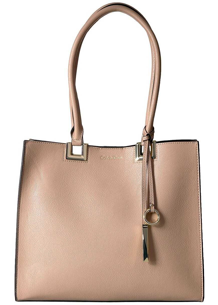 Calvin Klein North/South Novelty Smooth Boxed Tote Bisque