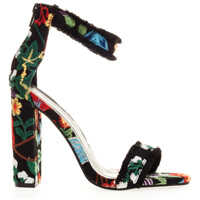 Sandale Women's Black Floral Heeled Sandals Femei
