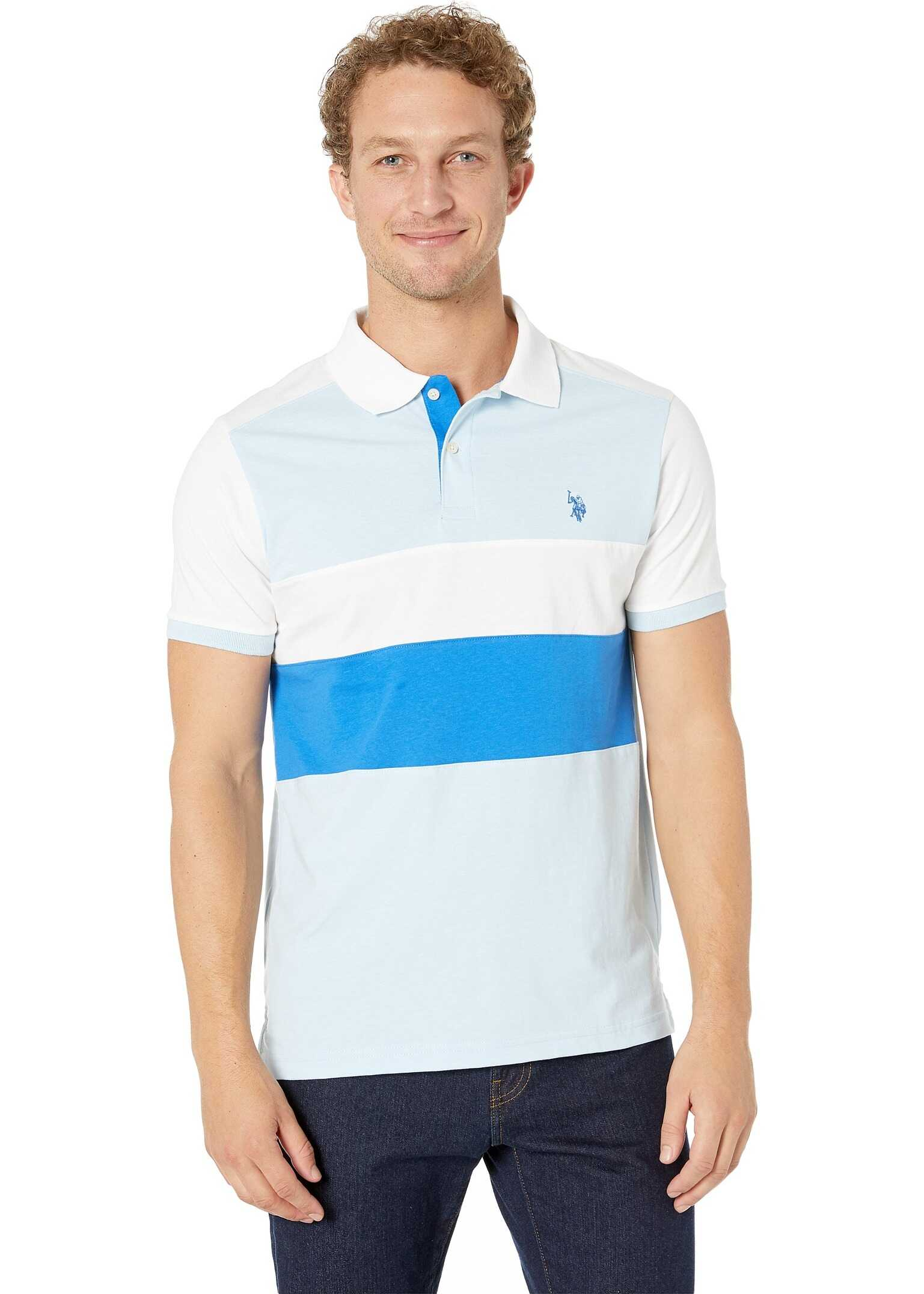 U.S. POLO ASSN. Slim Fit Chest Stripe Color Block Polo Shirt Terry Blue Heather