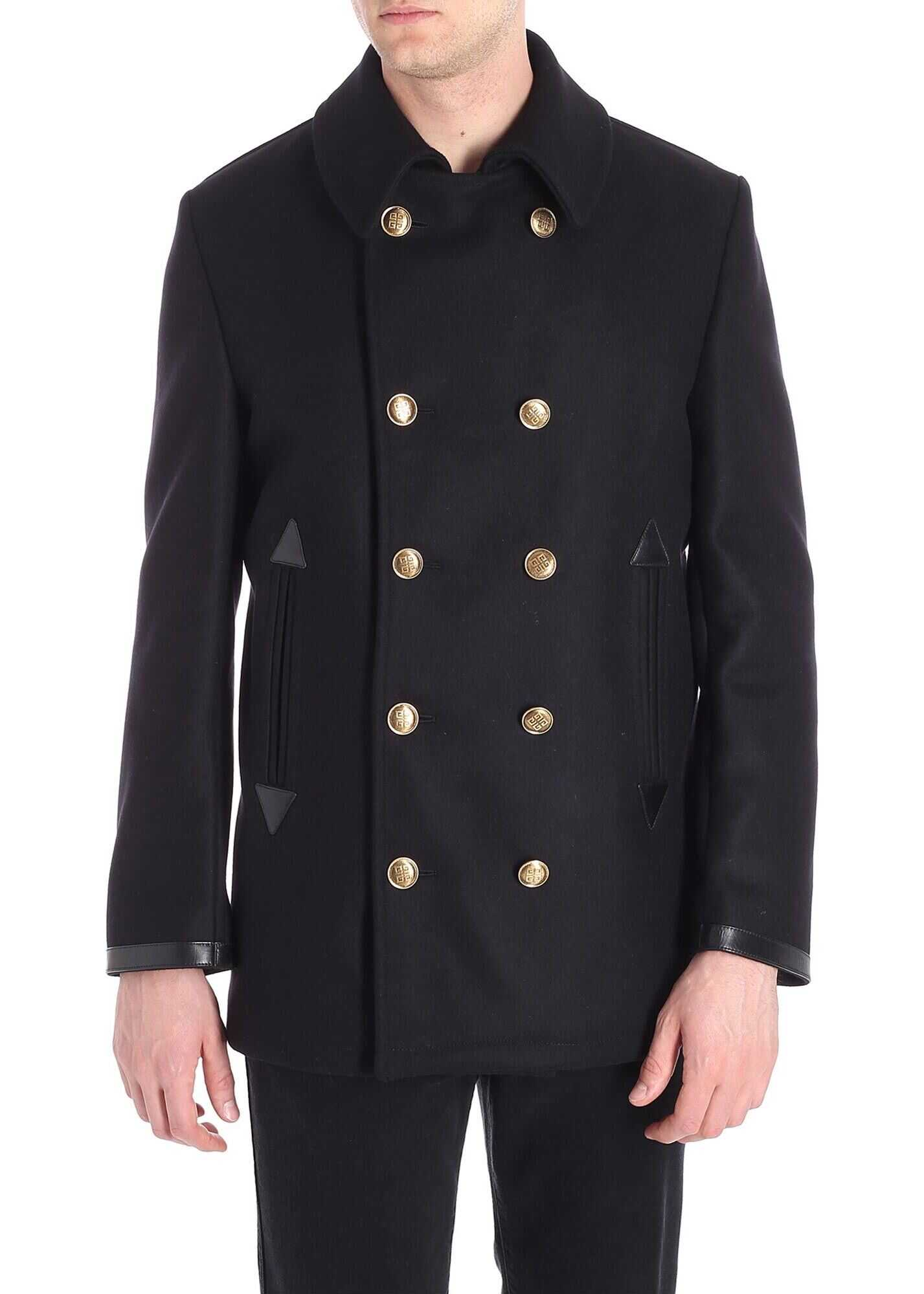 Givenchy Black Coat With 4G Buttons Black