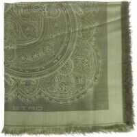 Esarfe ETRO Green Embroidered Shawl Femei