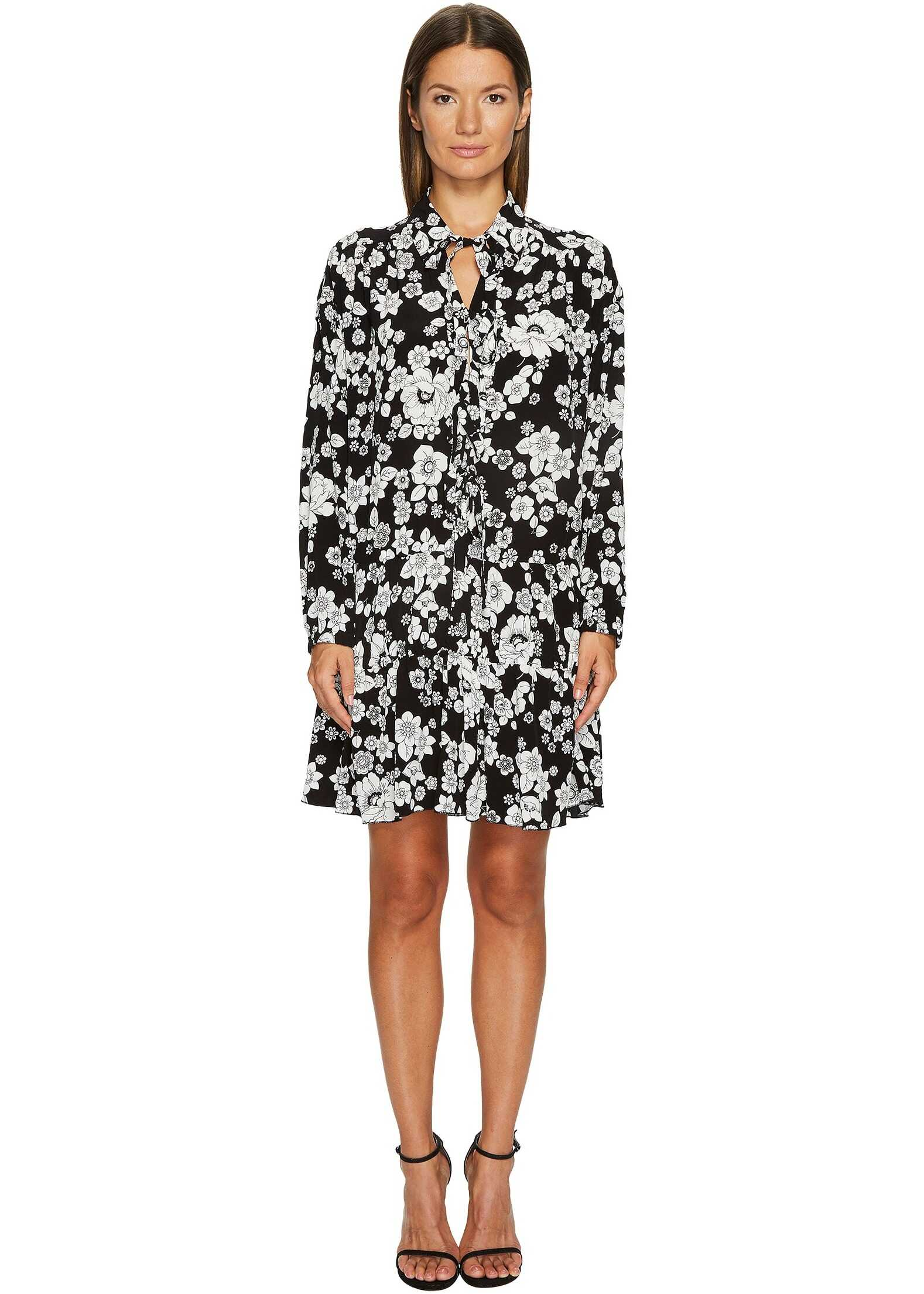 LOVE Moschino Long Sleeve Floral Dress Black/White