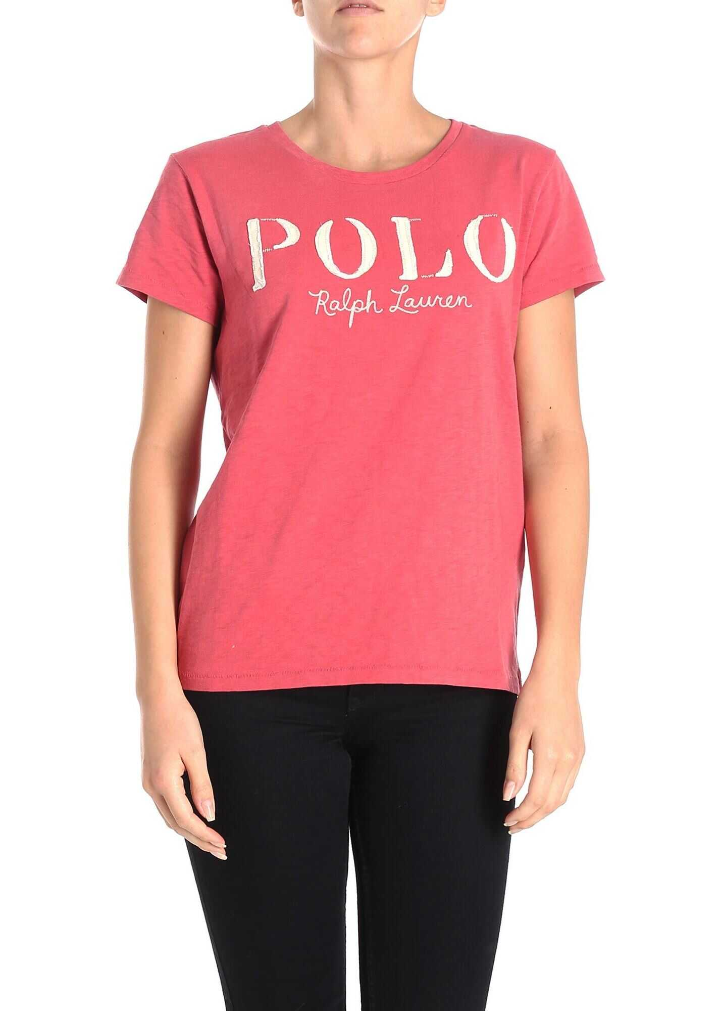 Ralph Lauren Vintage Effect Red Logo T-Shirt Red