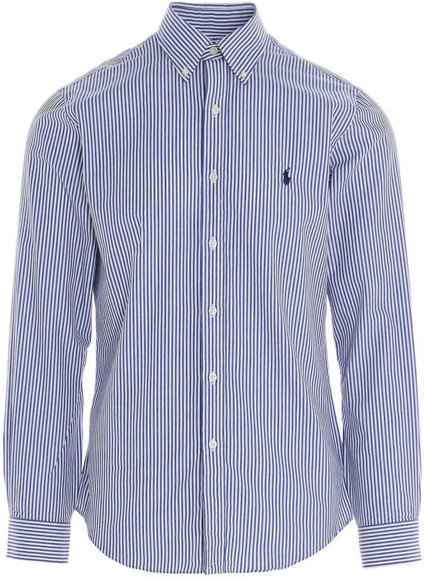 Ralph Lauren Striped Blue And White Shirt Blue imagine