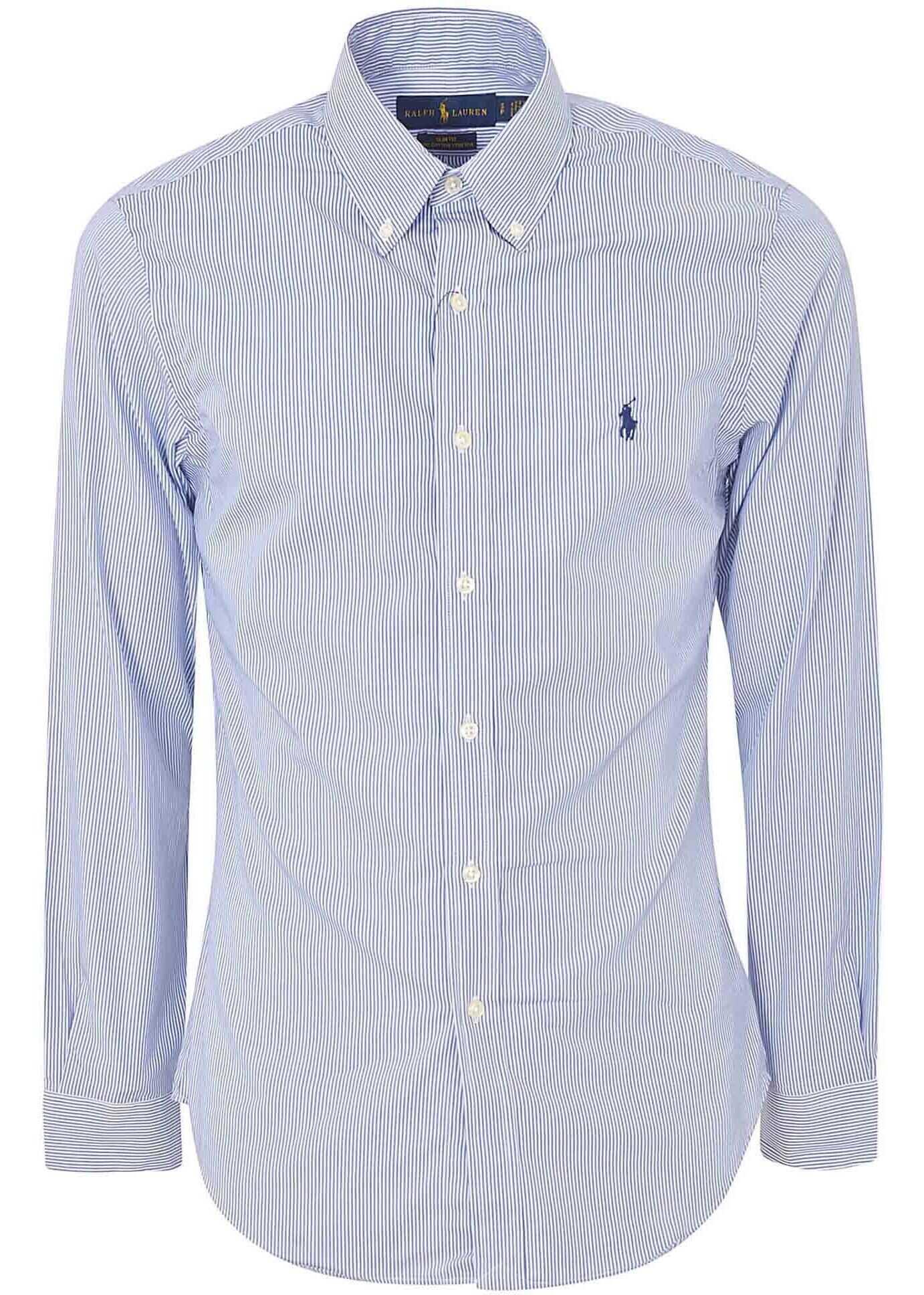 Ralph Lauren Light Blue And White Striped Shirt Light Blue imagine