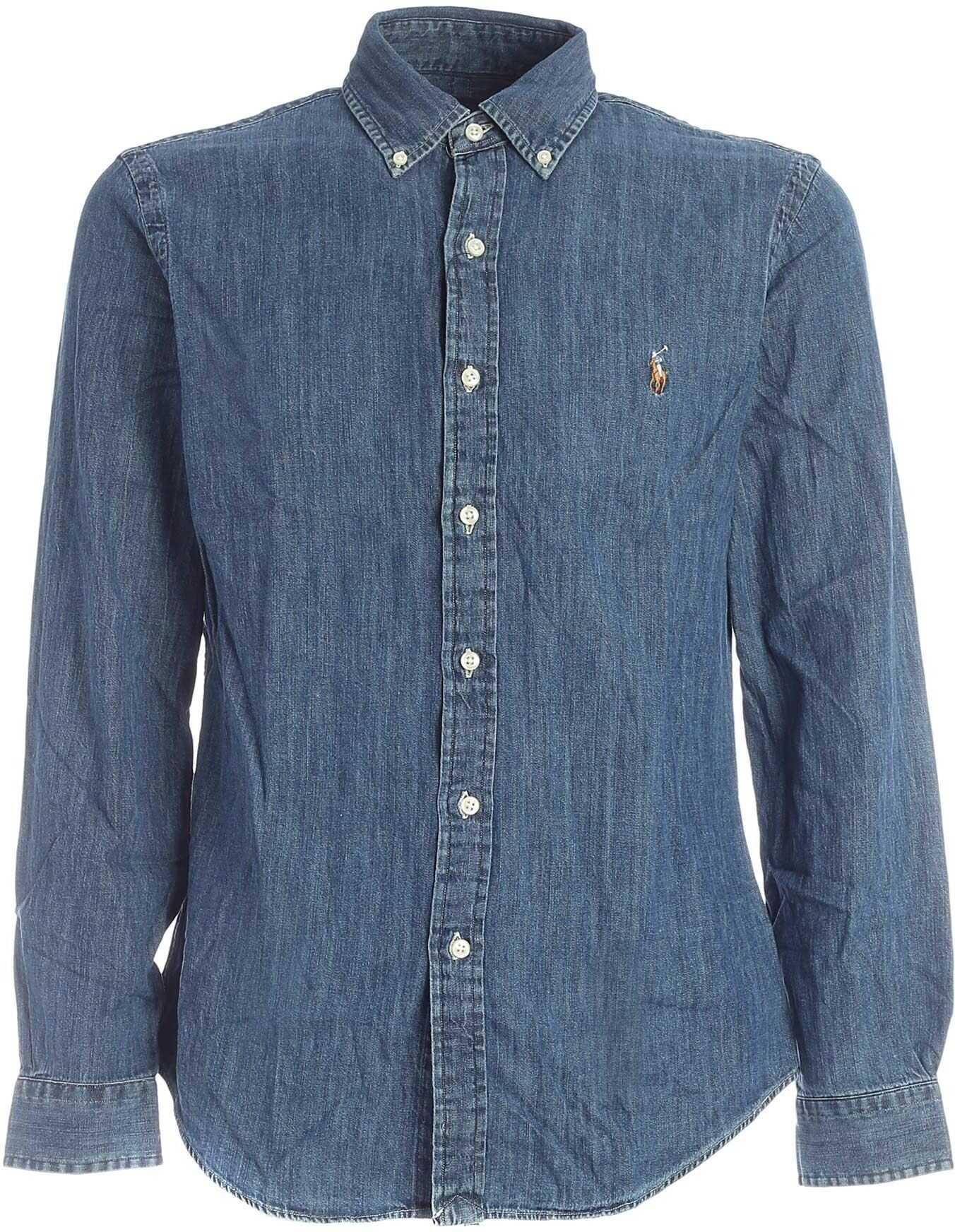 Ralph Lauren Blue Denim Button-Down Shirt Blue imagine