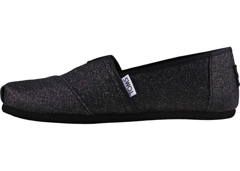 Espadrile Fete TOMS Classic Iridescent Glimmer Kids Slip On In Black