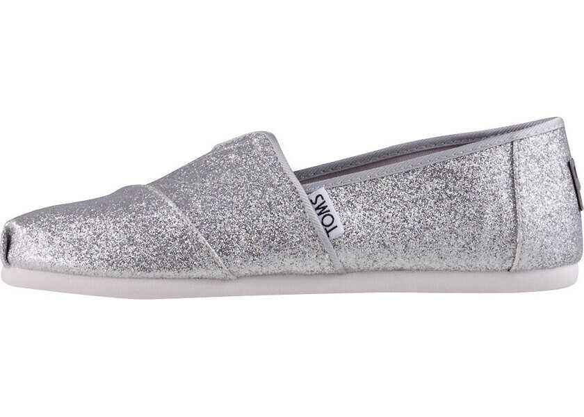 Espadrile Fete TOMS Classic Iridescent Glimmer Kids Slip On In Silver
