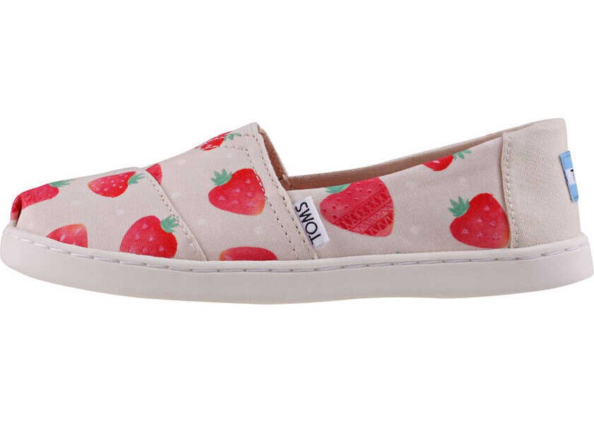 Espadrile Fete TOMS Classic Strawberries And Cream Kids Slip On In Beige Red