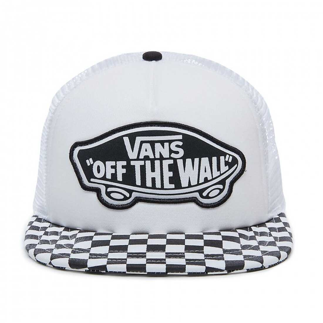 Vans Beach Girl Trucker Checker Hat In Black And White Black