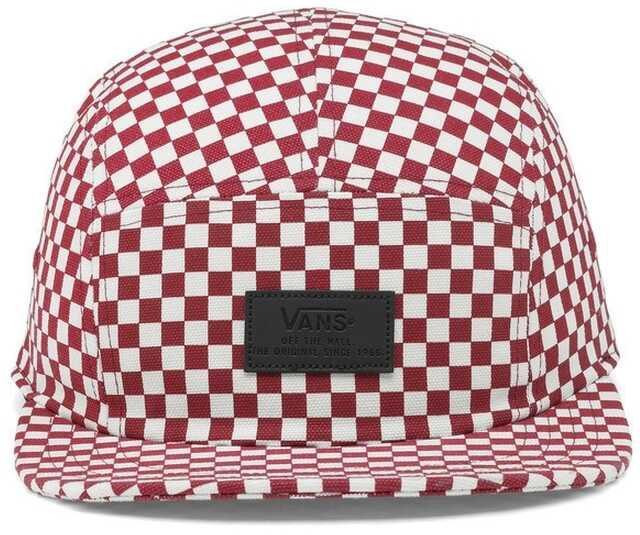 Sepci Barbati Vans Davis 5 Panel Checkerboard Hat In Red And White