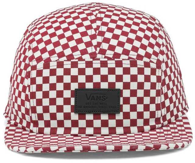 Vans Davis 5 Panel Checkerboard Hat In Red And White Red