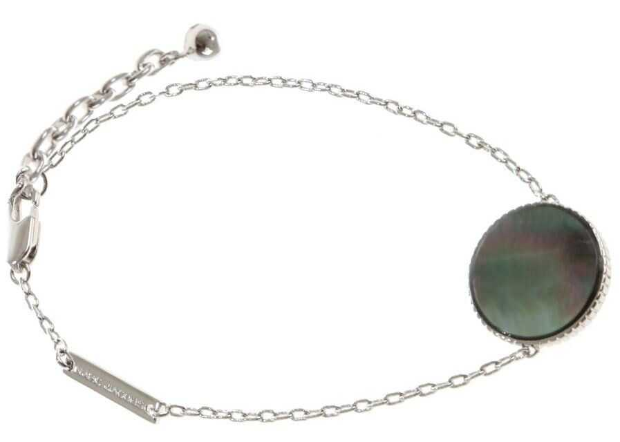 Marc Jacobs Silver Pearlescent Logo Chain Bracelet Silver
