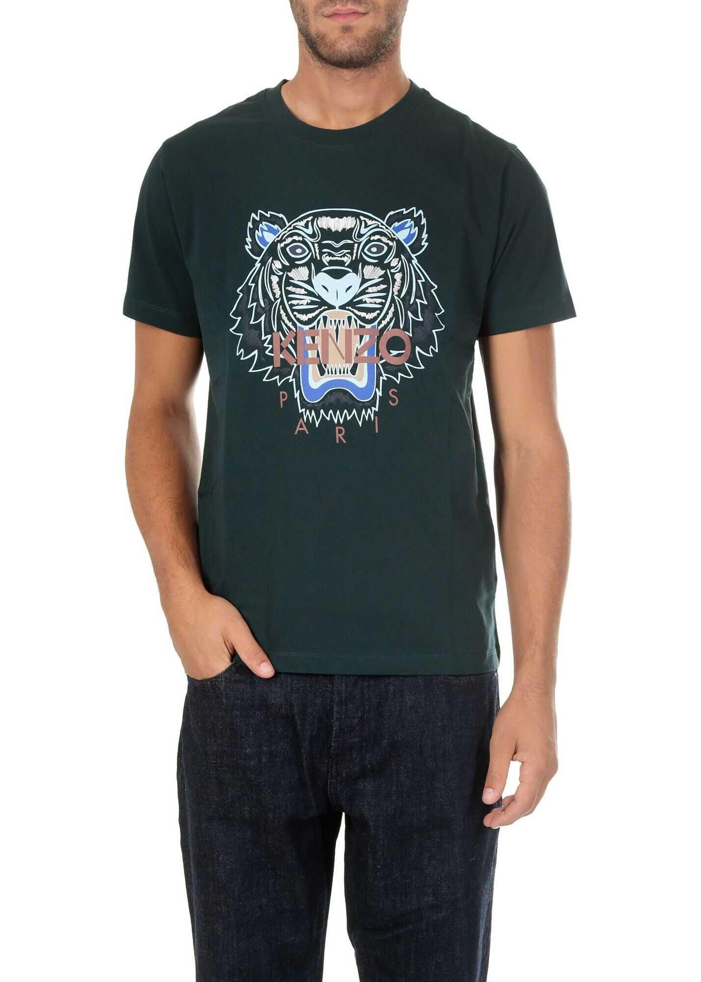 Kenzo Green T-Shirt With Tiger Logo Print Green