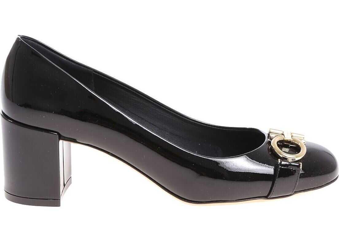 Salvatore Ferragamo Black Patent Leather Garda Pumps Black