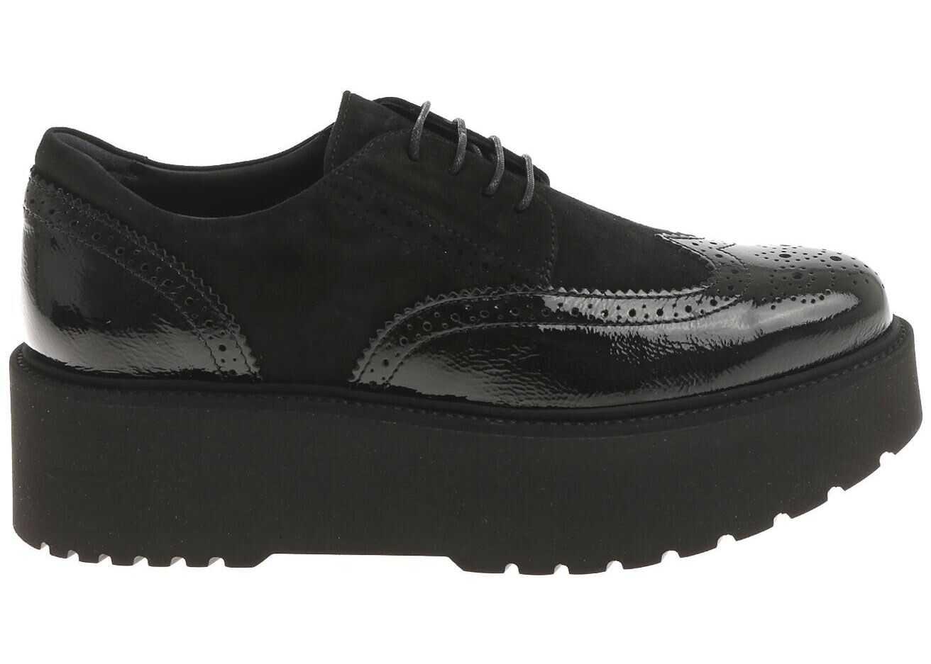 Hogan Black Derby Brogue H355 Shoes Black