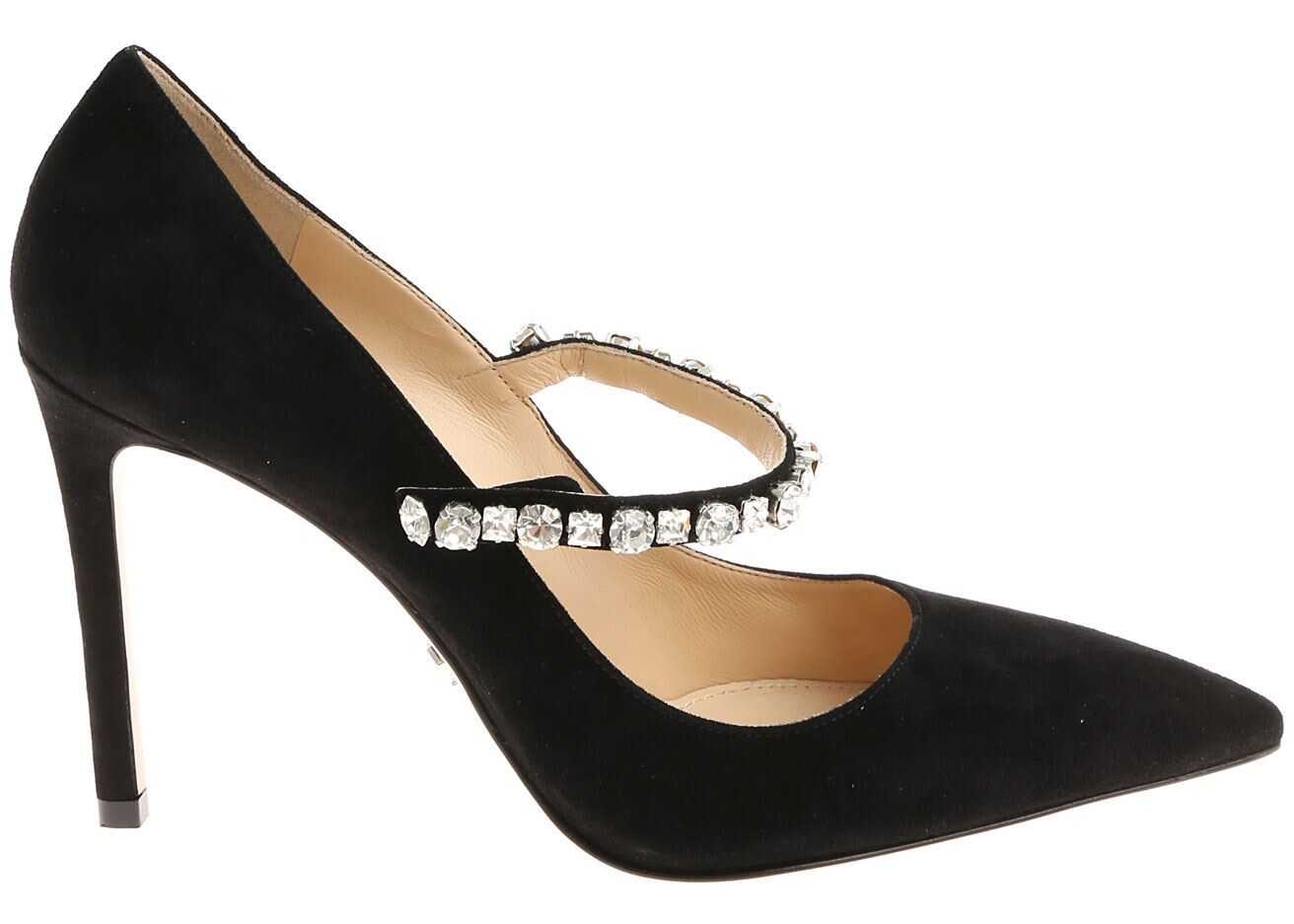 Prada Black Pointy Pumps With Rhinestones Black