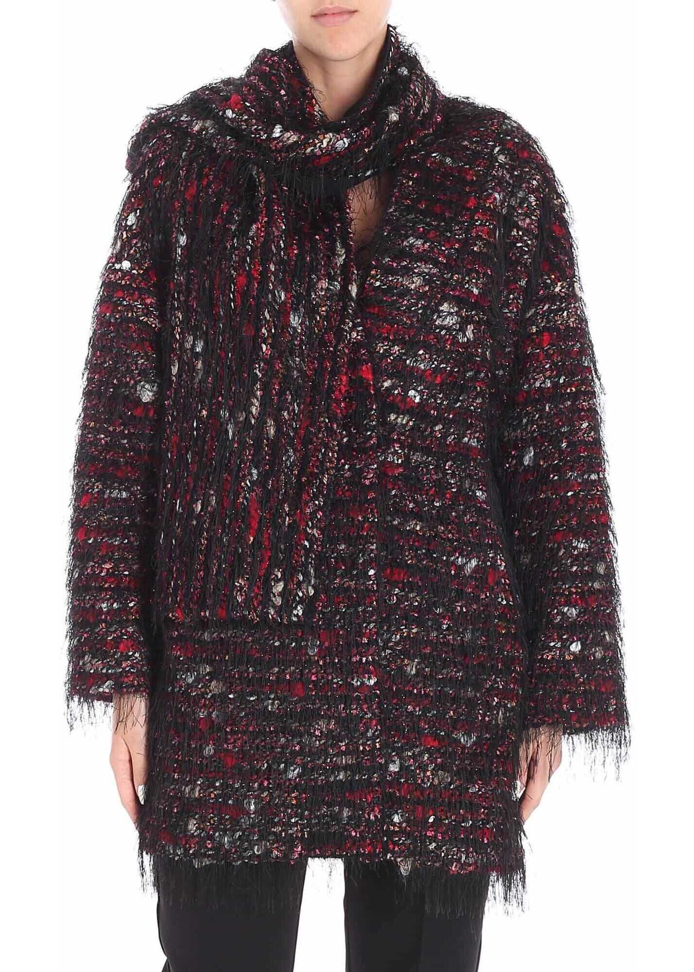 Blugirl Tweed Coat With Fringes Multi