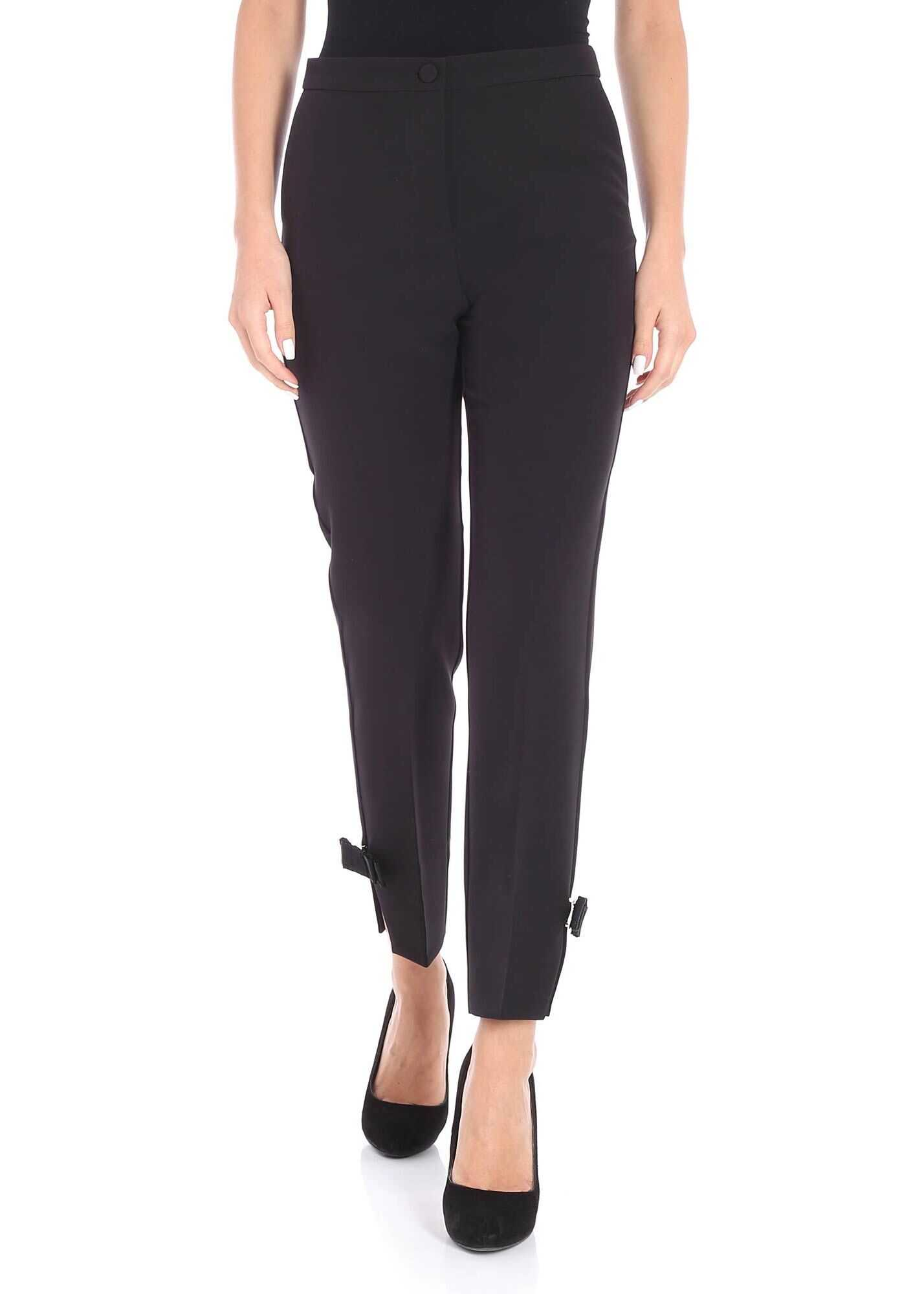 Blugirl Black Trousers With Bows Black