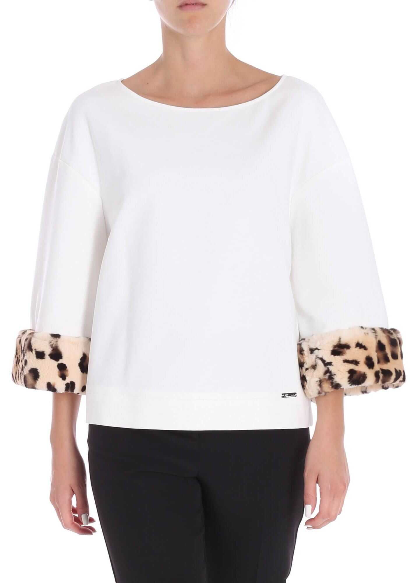 Jersey Blouse With Fur Detail