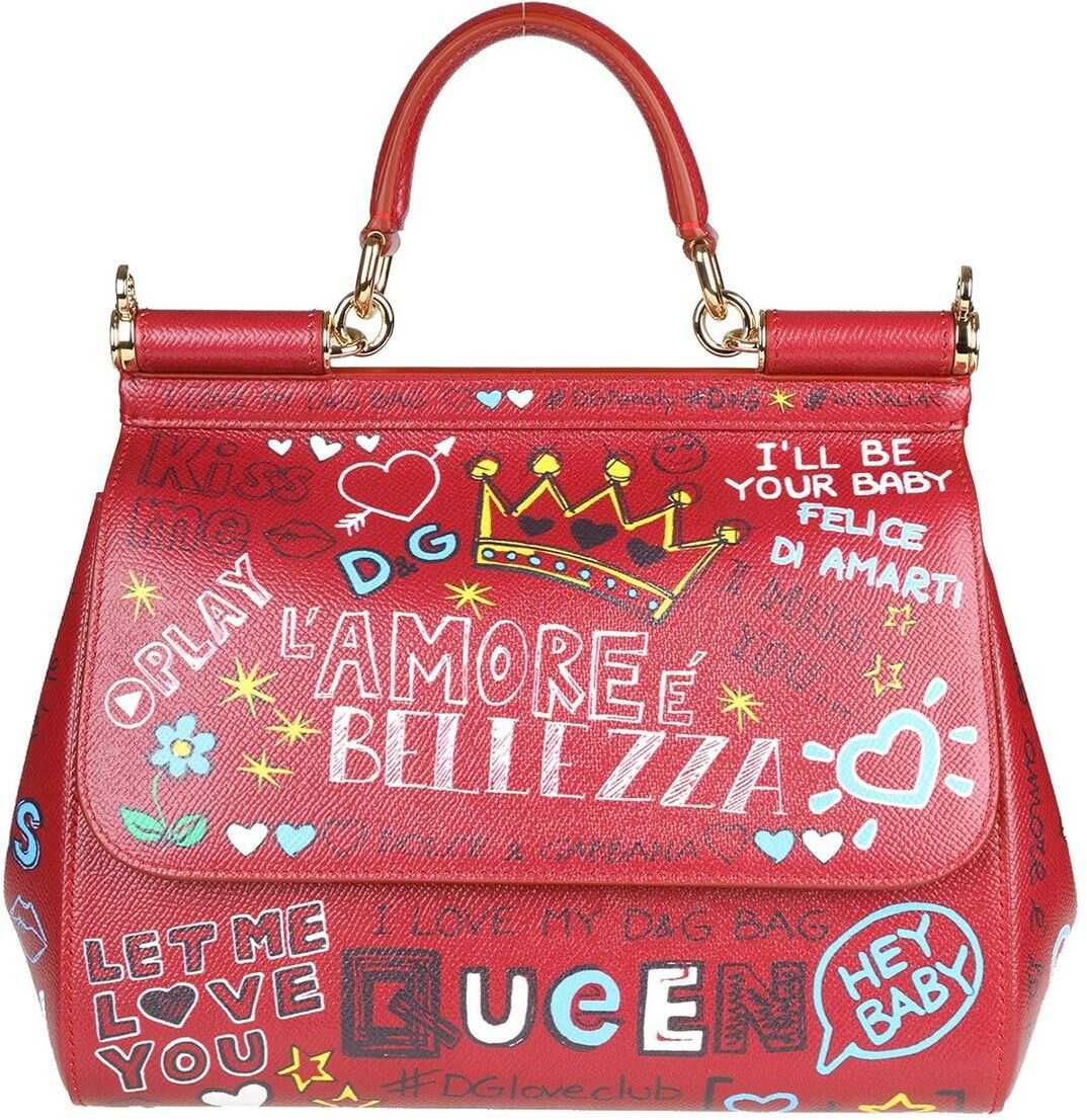 Dolce & Gabbana Red Leather Sicily Medium Bag Red