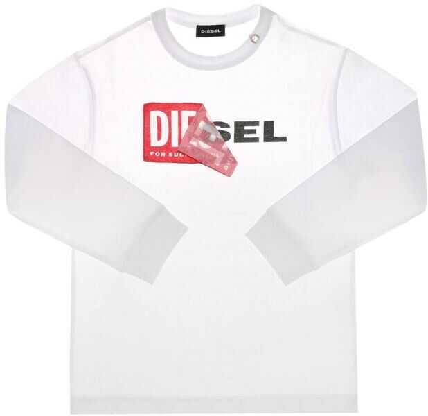 Tricouri Baieti Diesel White Tedri T-Shirt With Long Sleeves And Logo