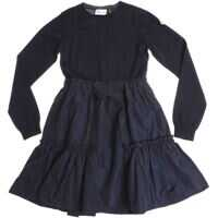 Rochii Blue Virgin Wool Dress With Flounced Skirt Fete