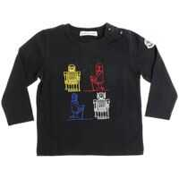 Tricouri Black Long-Sleeved T-Shirt With Robot Embroidery Baieti
