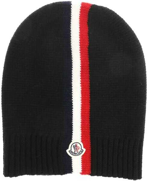 Caciuli & Palarii Baieti Moncler Kids Black Beanie With Multicolor Embroidery