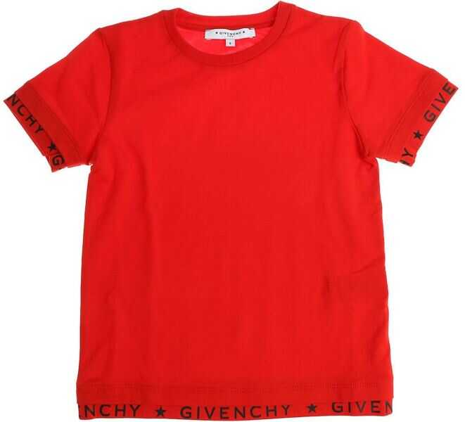 Tricouri Baieti Givenchy Red T-Shirt With Branded Edges