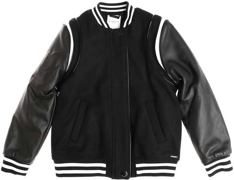 Jachete Baieti Givenchy Wool Padded Leather Jacket With Leather Sleeves