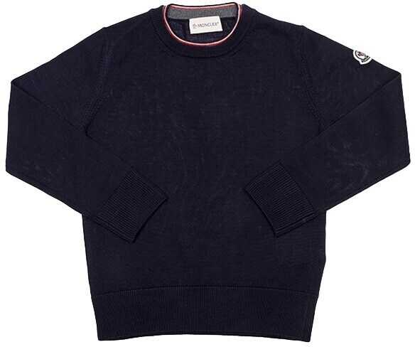 Pulovere Baieti Moncler Kids Blue Virgin Wool Pullover