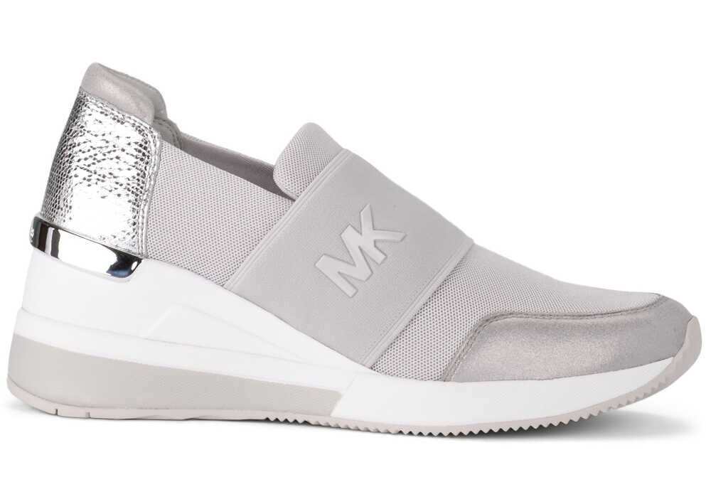 Michael Kors Felix Grey And Silver Fabric And Leather Sneaker Silver