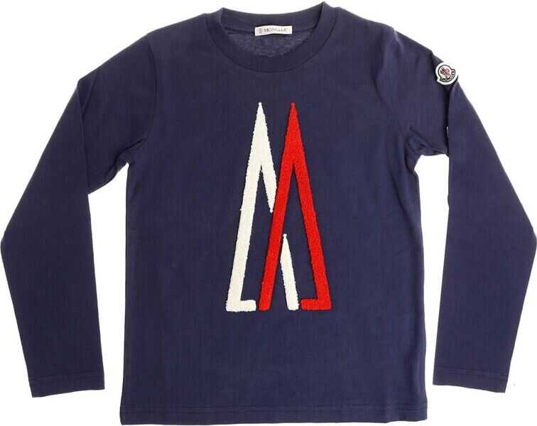 Tricouri Baieti Moncler Kids Blue T-Shirt With Red And White Logo