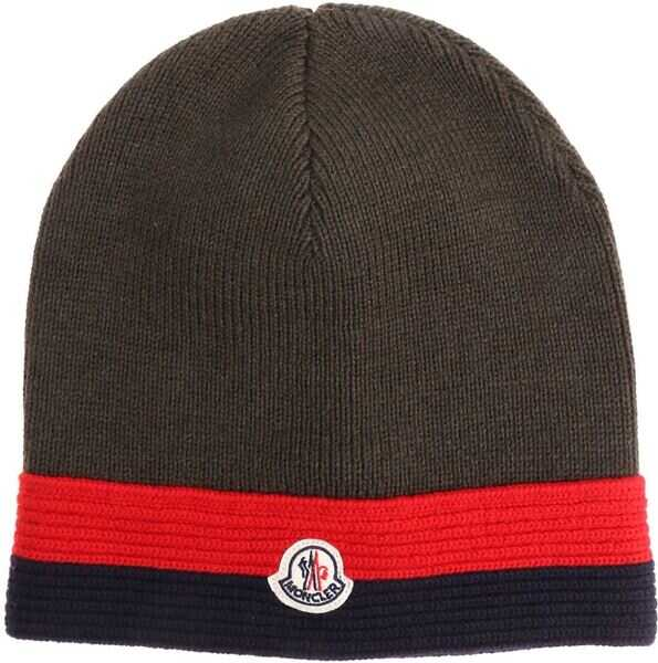 Sepci Baieti Moncler Kids Green Wool Beanie With Logo