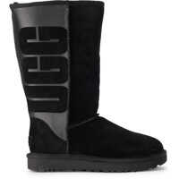 Cizme peste genunchi UGG Classic Tall Black Leather And Sheepskin Boots