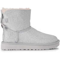 Botine UGG Mini Bailey Bow Glitter And Silver Sheepskin Ankle Boots