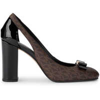 Pantofi cu Toc Carson Pump Brown Rubber Fabric And Black Patent Leather Decolletè. Side Opening And Black Patent Leather And Golden Bow. Femei