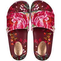 Slapi Qarla Slide In Red Floral Femei