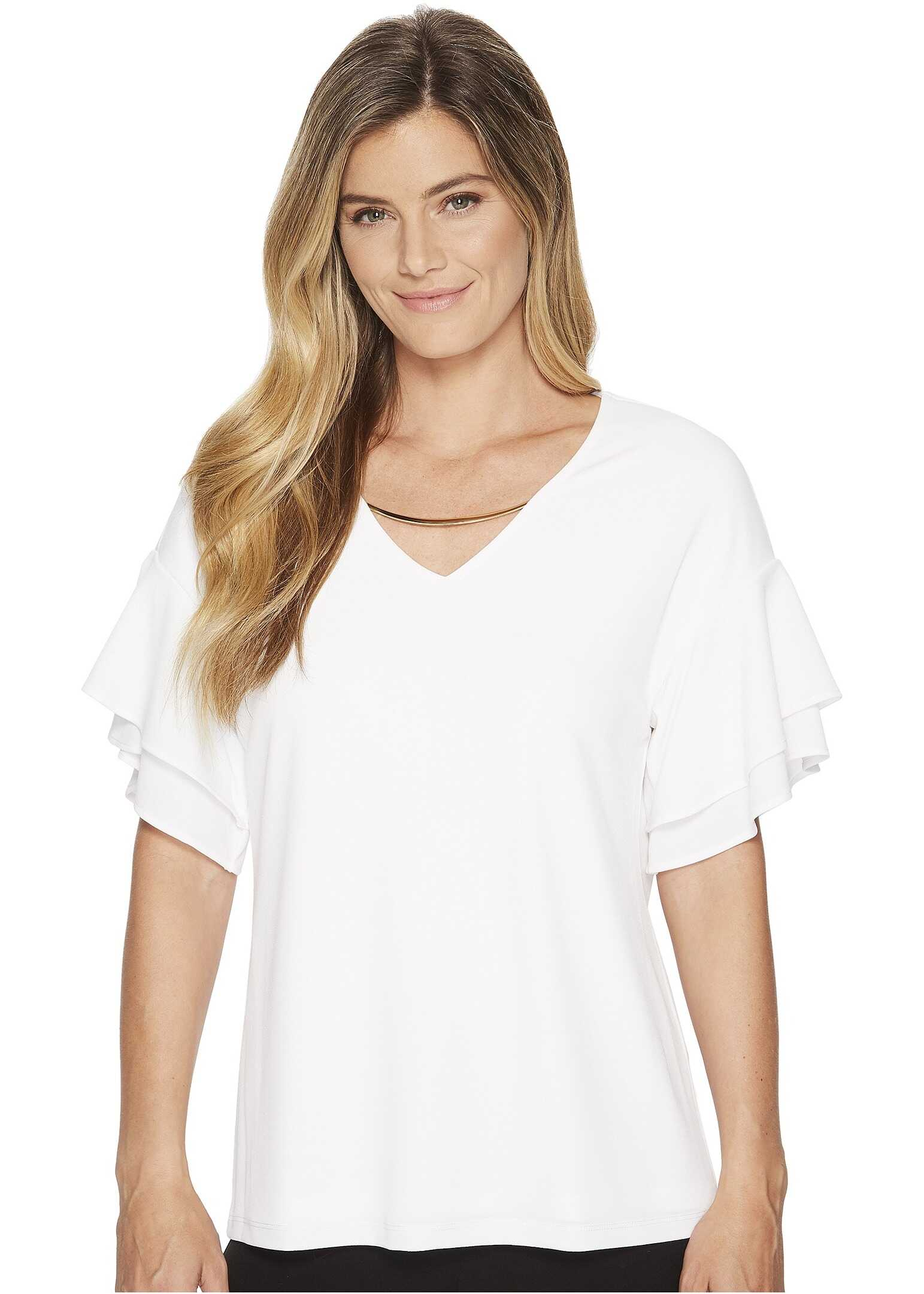 Calvin Klein Double Ruffle Short Sleeve Top w/ Chain Soft White