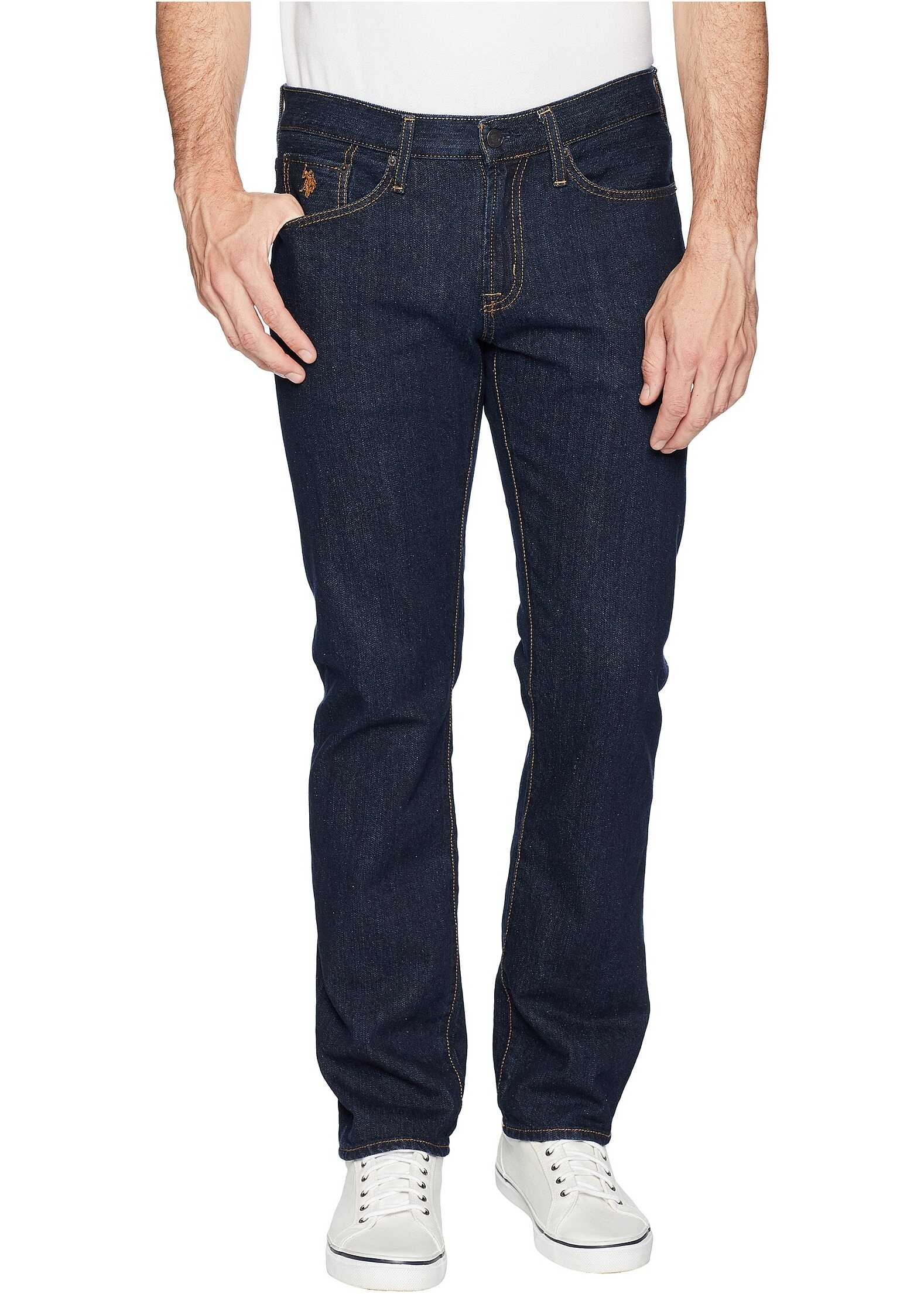 U.S. POLO ASSN. Slim Straight Five-Pocket Denim Jeans in Blue Blue