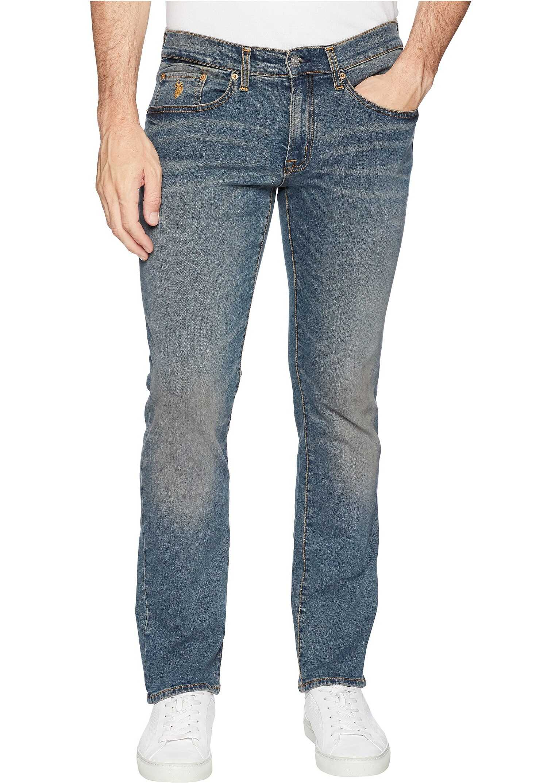 U.S. POLO ASSN. Slim Straight Stretch Denim Jeans in Blue Blue